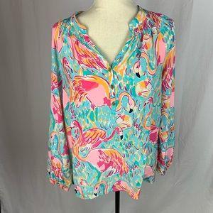 Lilly Pulitzer flamingo blouse